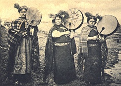 Mapuche Machis with Kultrun, a traditional drum