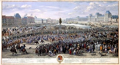 Royal procession passing the Pont-Neuf under Louis XIV