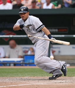 Cabrera bunting for the New York Yankees in 2007