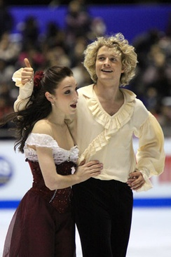 Davis and White after performing their free dance to The Phantom of the Opera at the 2009-2010 Grand Prix Final.