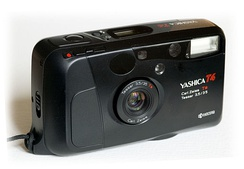 A film point-and-shoot camera made by Yashica with a Tessar lens