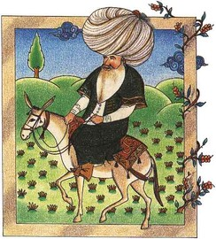 A 17th-century miniature of Nasreddin, a Seljuk satirical figure, currently in the Topkapı Palace Museum Library