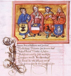 Depiction by Nicolaus Marschalk in the Chronicon der mecklenburgischen Regenten[1] (Chronicon of the Mecklenbugian Regents) around 1520