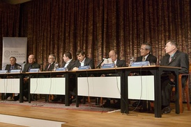 Peter Diamond, Dale T. Mortensen, Christopher A. Pissarides, Konstantin Novoselov, Andre Geim, Akira Suzuki, Ei-ichi Negishi, and Richard Heck, Nobel Prize Laureates 2010, at a press conference at the Royal Swedish Academy of Sciences in Stockholm.
