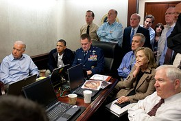 Daley, upper center-right, standing with the U.S. national security team gathered in the Situation Room to monitor the progress of Operation Neptune Spear.