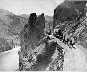 Cariboo Road along the Thompson River at Saddle Rock, 1867