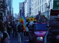 In San Francisco, Peter Camejo demonstrates for peace and against war March 3, 2006.
