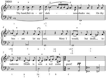 Melodies can be based on a diatonic scale and maintain its tonal characteristics but contain many accidentals, up to all twelve tones of the chromatic scale, such as the opening of Henry Purcell's Thy Hand, Belinda, Dido and Aeneas (1689) (Play (help·info), Play (help·info) with figured bass), which features eleven of twelve pitches while chromatically descending by half steps,[1] the missing pitch being sung later.