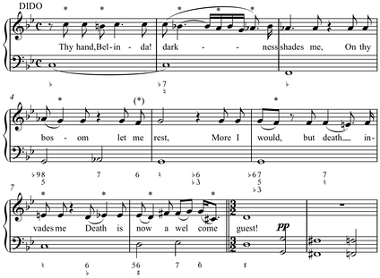 "Melody from the opening of Henry Purcell's ""Thy Hand, Belinda"", Dido and Aeneas (1689) with figured bass below (Play (help·info), Play (help·info) with figured bass realization)."