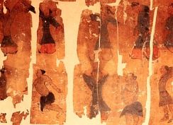The physical exercise chart; a painting on silk depicting the practice of Qigong Taiji; unearthed in 1973 in Hunan Province, China, from the 2nd-century BC Western Han burial site of Mawangdui, Tomb Number 3.