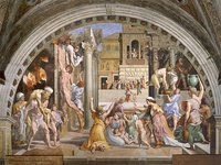 The Fire in the Borgo, 1514, Stanza dell'incendio del Borgo, painted by the workshop to Raphael's design