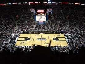 The San Antonio Spurs hosting the Los Angeles Lakers in Game 1 of the 2004 Western Conference Semi-finals at the SBC Center.