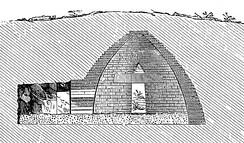 Cross section of Treasury of Atreus, a beehive tomb