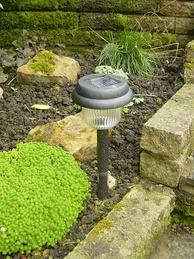 A garden solar lamp is an example of landscape lighting