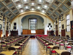 The Shirley Hall was built on the site of the tennis courts and opened by the Queen Mother in 1957. Assemblies, plays, concerts and public examinations all take place here. Underneath the Hall is the Pupils' Social Centre