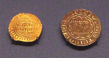 County of Tripoli gold bezant in Arabic (1270–1300), and  Tripoli silver gros (1275–1287). British Museum.