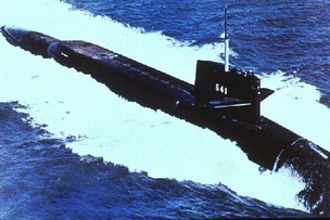 "USS Simon Bolivar (SSBN-641) awarded with the Battle ""E"" for most outstanding ballistic missile nuclear submarine in 1974, 1975 and 1976"