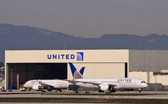The second and third United Airlines 787-8s at Los Angeles International Airport. United Airlines is the North American launch customer for all three 787 variants.