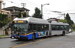 New Flyer E60LFR articulated bus operating for TransLink