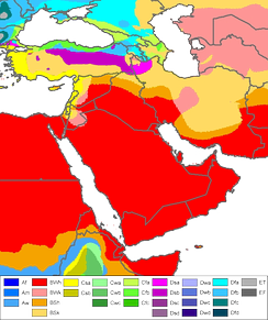 Saudi Arabia's Köppen climate classification map[264] is based on native vegetation, temperature, precipitation and their seasonality.   BWh Hot desert   BWk Cold desert   BSh Hot semi-arid   BSk Cold semi-arid