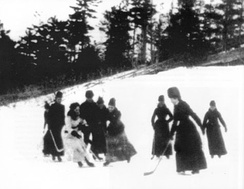 Women playing ice hockey, c. 1888. The daughter of Lord Stanley of Preston, Lady Isobel Gathorne-Hardy is visible in white.