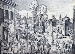 The Constantinople Massacre of April 1821: a religious persecution of the Greek population of Constantinople under the Ottomans. Patriarch Gregory V of Constantinople was executed.