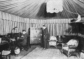 Studio of RCA's first broadcasting station, the short-lived WDY, located at its plant in Roselle Park, New Jersey (1922)