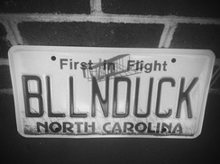 A North Carolina license plate.