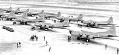 411th Bombardment Squadron B-17E Flying Fortresses at Gowen Field, Idaho, 1943
