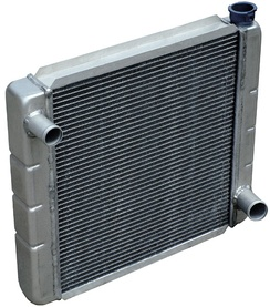 A typical engine coolant radiator used in an automobile