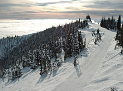 View from the top of Big Mountain, near Whitefish, in winter