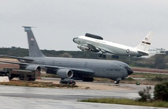 "USAF NKC-135 ""Big Crow"" ECM aircraft takes off from a forward operating base[3]"