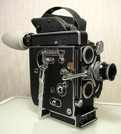 "A 16 mm spring-wound Bolex ""H16"" Reflex camera—a popular entry-level camera used in film schools"