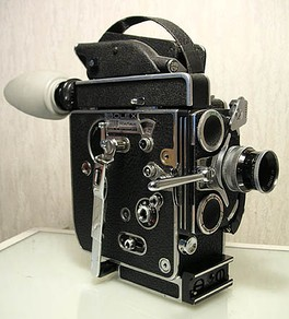 "This 16 mm spring-wound Bolex ""H16"" Reflex camera is a popular entry level camera used in film schools."