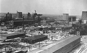 IG Farben plant under construction approximately 10 kilometres (6.2 mi) from Auschwitz, 1942