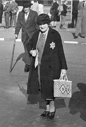 Woman in Berlin wearing the yellow star