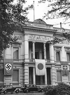 Flags of Germany, Japan, and Italy draping the facade of the Embassy of Japan on the Tiergartenstraße in Berlin (September 1940)