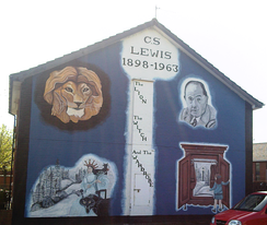 A mural depicting Lewis and characters from the Narnia series, Convention Court, Ballymacarrett Road, East Belfast