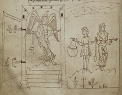 In this illustration from page 46 of the Cædmon (or Junius) manuscript, an angel is shown guarding the gates of paradise.