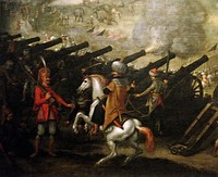 A Janissary, a pasha and cannon batteries at the Siege of Esztergom in 1543.