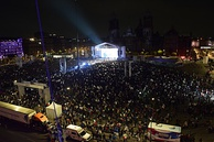 Celebration of Andrés Manuel López Obrador in Mexico City's Zocalo after being declared winner in Mexico's federal elections of 1 July 2018