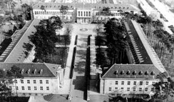 US Embassy Clay Allee building, the L-shaped building on left, seen here when it was part of the entire Berlin Brigade compound in the late 1940s
