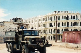 A Pakistani UNOSOM armed convoy making the rounds in Mogadishu.