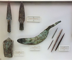 Copper knife, spearpoints, awls, and spud, from the Late Archaic period, Wisconsin, 3000-1000 BC