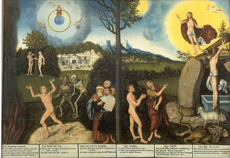 Law and Gospel, c. 1529 by Lucas Cranach the Elder, a Lutheran. The left side of the tree illustrates law, while the right side illustrates grace.