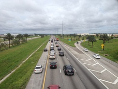 Eastbound Interstate 4 lanes on the afternoon of September 9 are filled with evacuating traffic from the Gulf Coast (note the emergency shoulder use by moving traffic), while westbound lanes are almost empty at 5 PM on a Saturday afternoon