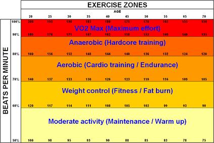 Таблица Фокса-Хаскела показывает зависимость между аэробной (светло-оранжевый) и анаэробной (тёмно-оранжевый) нагрузкой и пульсом.