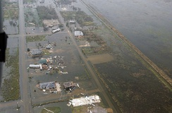 Floodwaters and destruction left in the aftermath of Hurricane Rita, in an area located near Galveston Bay, Texas.
