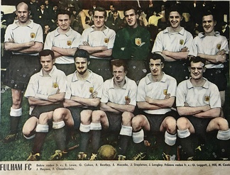 Fulham FC in 1958 with Johnny Haynes, player number four from left in the front line.