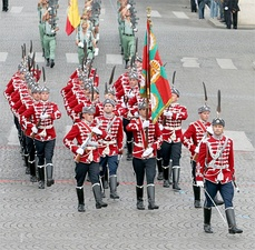 The scarlet uniform of the National Guards Unit of Bulgaria